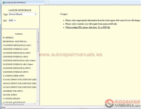 free download parts manuals 2012 mitsubishi lancer instrument cluster mitsubishi lancer sportback 2009 eur service manual auto repair manual forum heavy equipment