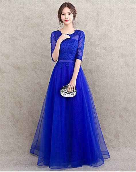 Bridesmaid Dresses To Fit All Sizes - half sleeve royal blue bridesmaid dress floor length