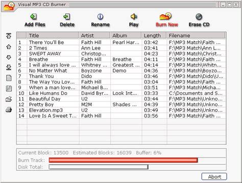 free mp burner visual mp3 cd burner screenshots