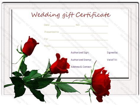 wedding gift certificate template wedding gift certificate template