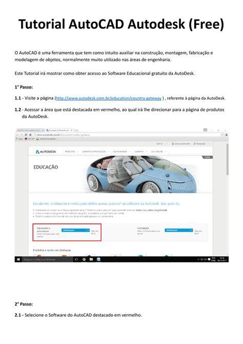 tutorial autocad 2007 em portugues gratis parceria autodesk licen 231 a autocad para educa 231 227 o