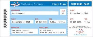 Airline Ticket Template Invitation by Airline Blue Invitation