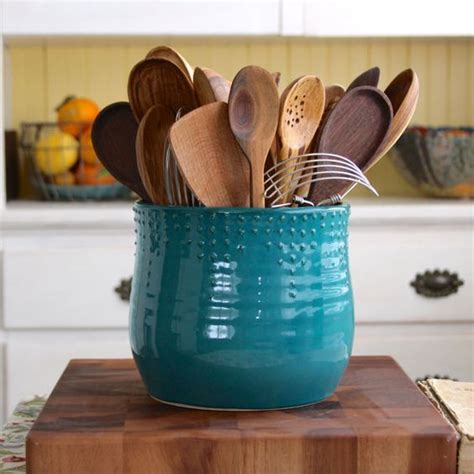 Kitchen Utensil Holder Ideas Large Kitchen Utensil Holder 16 Colors Green Blue White Thrown Vase