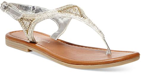 silver beaded sandals madden riddlee beaded flat sandals in metallic