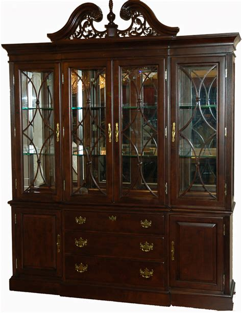 China Cabinet by Rich Cherry Solid Wood Breakfront China Cabinet Ebay