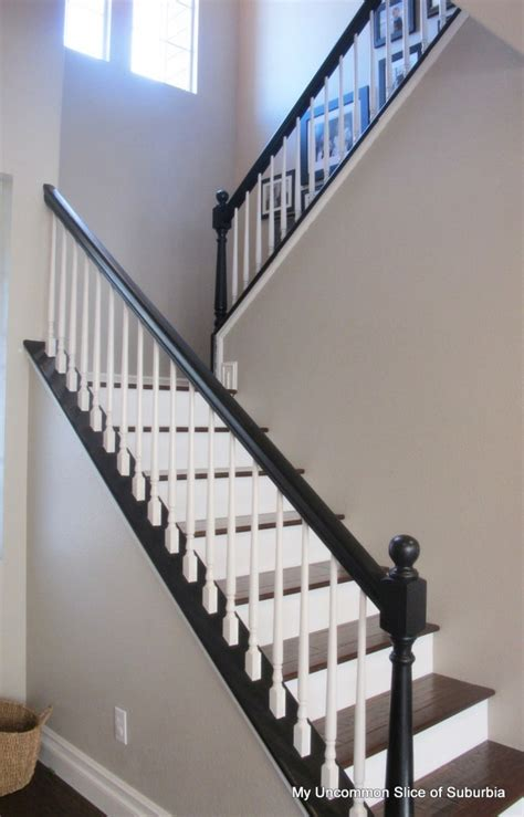 Black Banister White Spindles by Painted Stair Rails