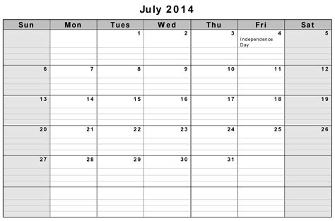 july 2014 calendar template 8 best images of printable monthly calendar july 2014
