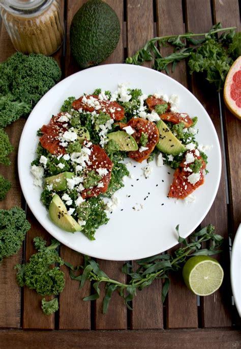 Kale Detox Salad With Pesto by Kale Salad With Caramelized Grapefruit Avocado Feta And