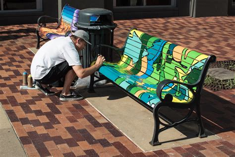 how to paint a bench art takes a seat downtown iowa now