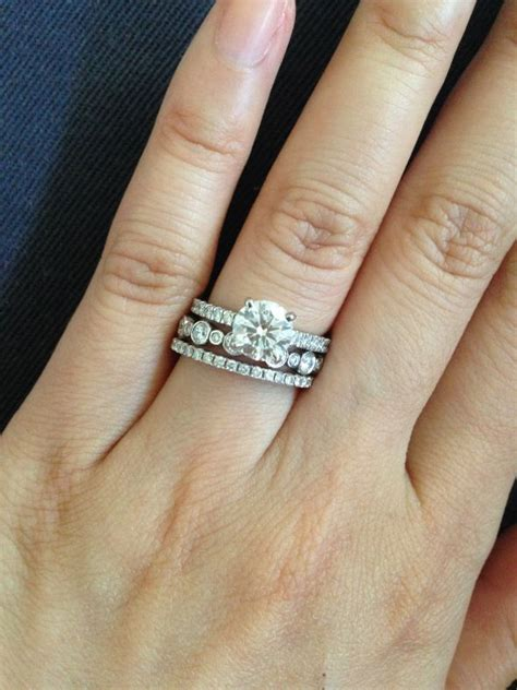 stacked wedding bands with engagement ring pictures to pin