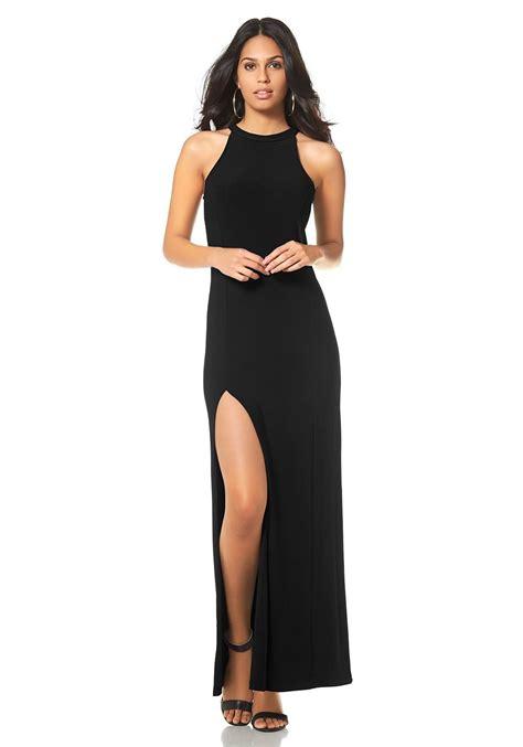 avondjurk extra lang maxi jurk met lange zijsplit