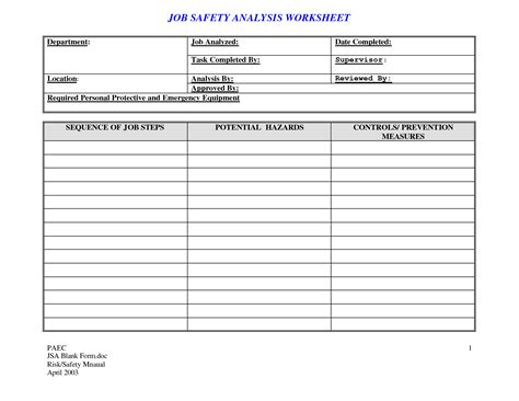 Analysis Job Safety Analysis Template Safety Analysis Template