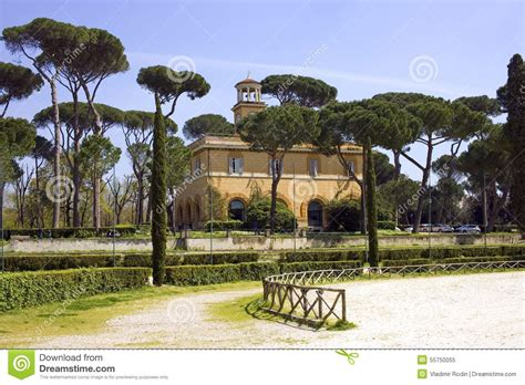 villa borghese rome landscape park the pincio hill stock
