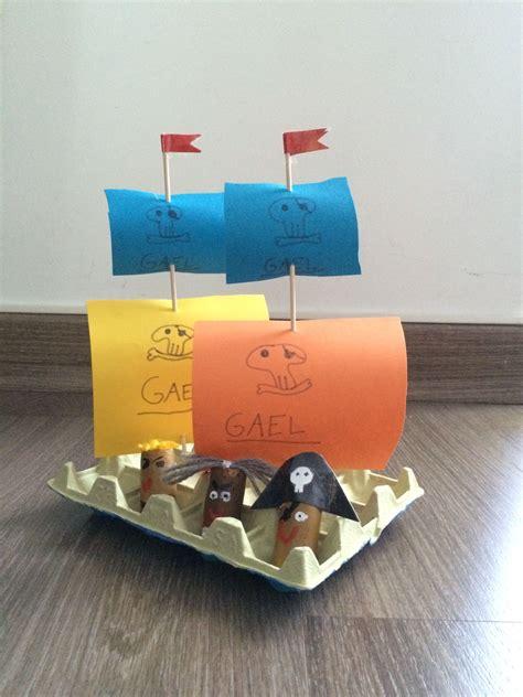 barco pirata hecho en carton barco pirata carton huevos hecho por ines pirate egg