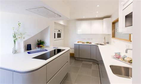 white gloss curved kitchen units atlantis kitchens project handleless gloss grey white