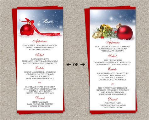 5 best images of christmas dinner menu printable free