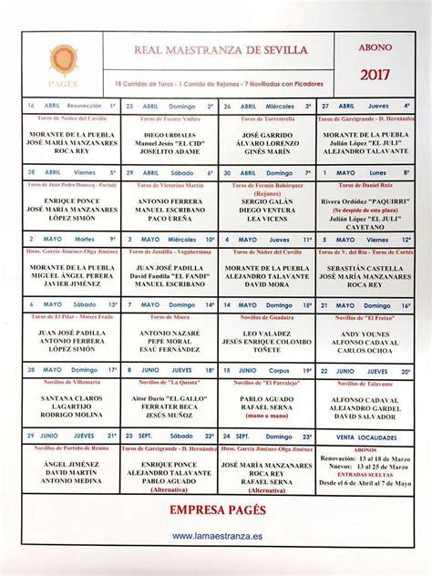 Calendario Taurino 2017 Corrida De Toros Domingo De Resurrecci 243 N 2017 En Sevilla