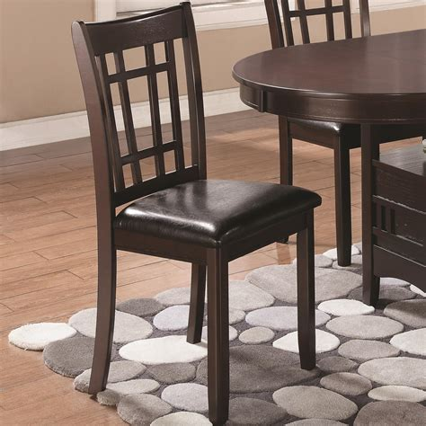 coaster dining chairs coaster lavon dining side chair with padded vinyl seat