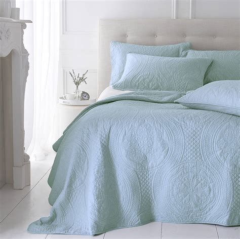 Duck Egg Quilted Bedspread by Soft Duck Egg Grey Quilted Bedspread By Marquis Dawe