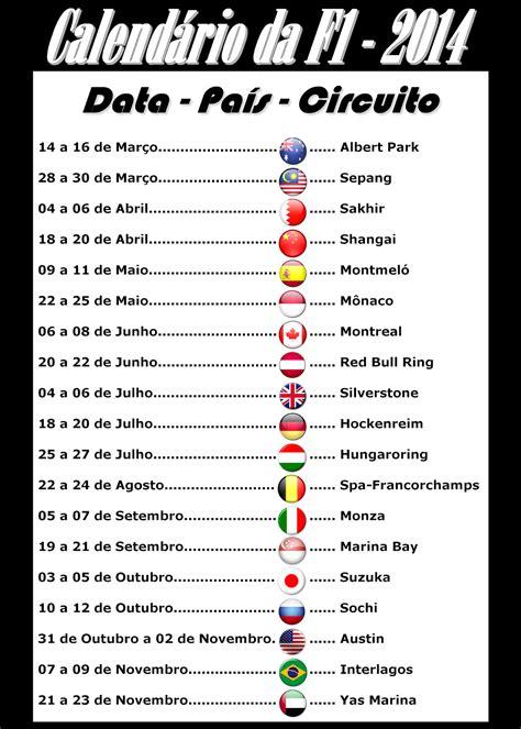 Calendario F1 2014 Calend 225 Da F1 2014 No Mundo Da Velocidade