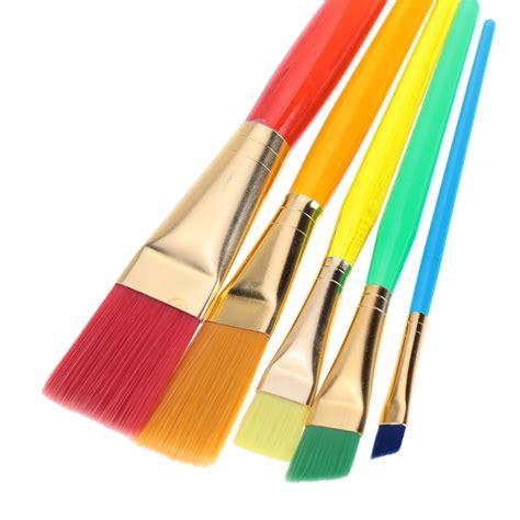 paint brushes 5pcs flat hair paint brush set plastic handle artists sales green tomtop