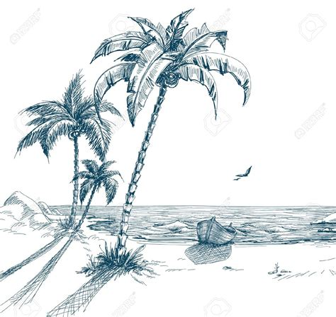 boat on beach drawing 9722031 summer beach with palm trees seagulls and boat on