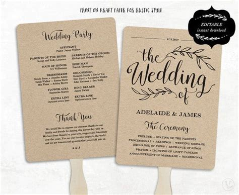 Printable Wedding Program Template, Rustic Wedding Fan