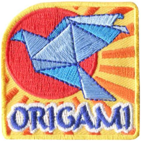 Origami Iron - origami iron on embroidered patch by e patches crests