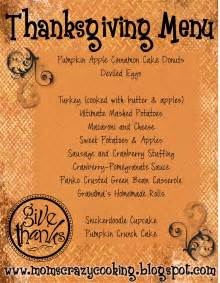 thanksgiving menue gallery for gt thanksgiving dinner menu