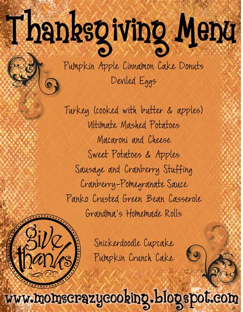 thanksgiving menu templates cooking thanksgiving turkey treats my