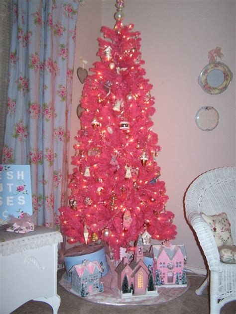 cute and beautiful pink christmas tree decor