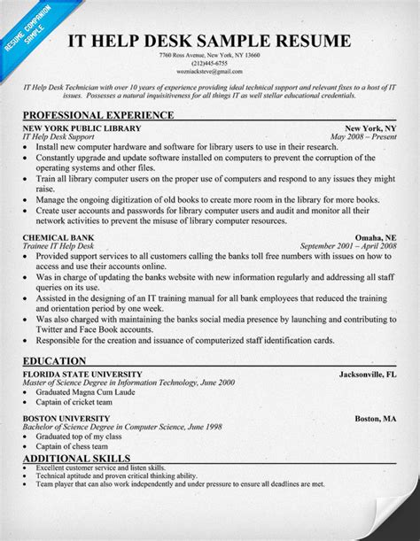 Sle Resume It Help Desk Support Resume Help Desk Manager Worksheet Printables Site