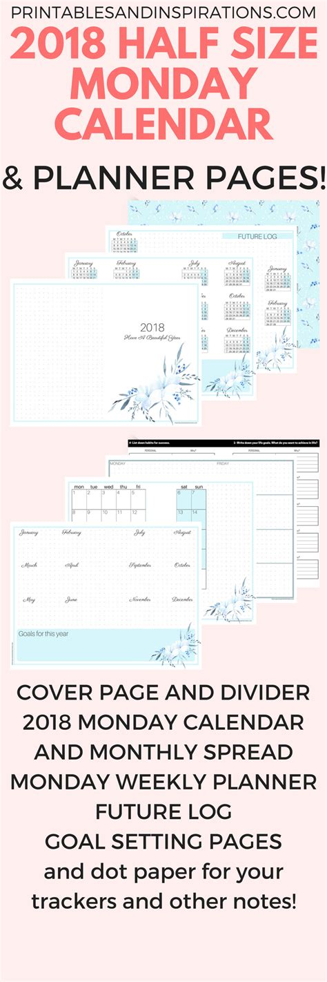 free printable planner pages half size free printable half size monday calendar and 2018 planner