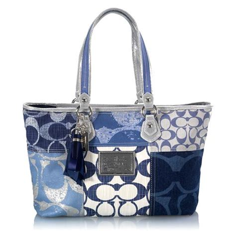 Coach Patchwork Tote - coach poppy denim patchwork tote