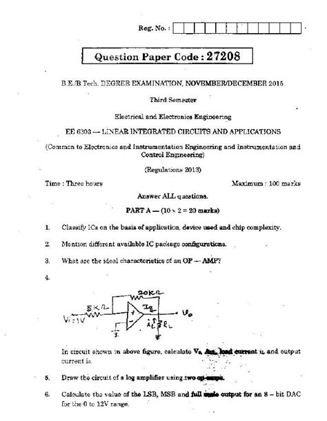 ee6303 linear integrated circuits and applications ee6303 linear integrated circuits and applications nov dec 2015 question paper