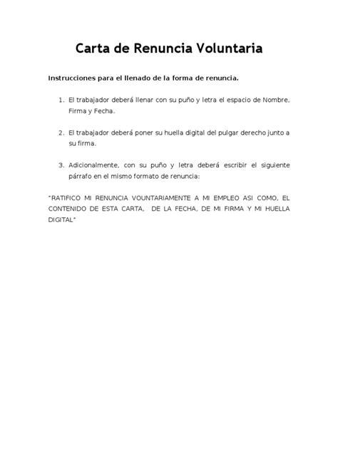 formato de jurisdiccion voluntaria para acreditar carta de renuncia voluntaria