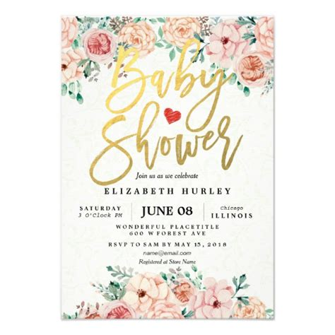 Baby Shower Invite by Gold Script Watercolor Floral Baby Shower Invite