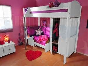 High Sleeper Bed With Futon Stompa Casa 10 White White With Pink Sofa Bed Stompa High Sleeper Beds
