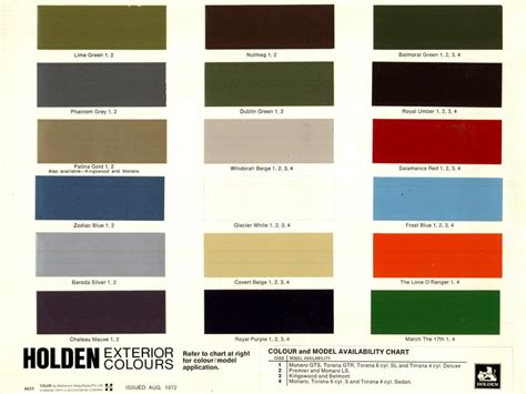 bs stillwell motor posted image holden hq colours paint charts
