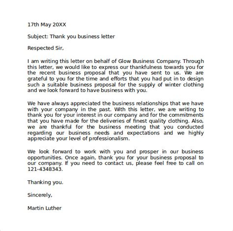 thank you letter for business interest sle official business letter format 7 free