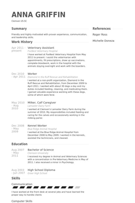 Veterinary Assistant Sle Resume by Veterinary Assistant Resume Sles Visualcv Resume Sles Database