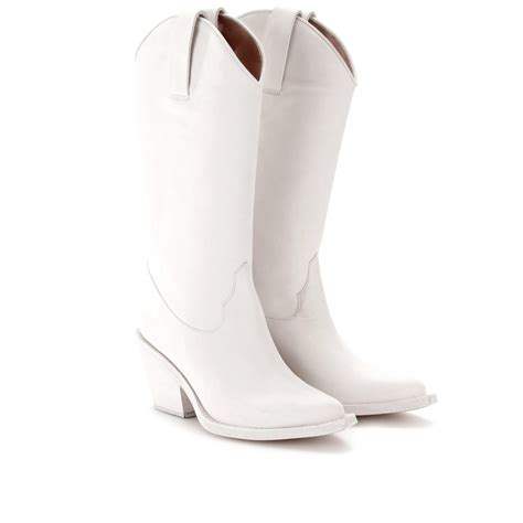 acne studios brush cowboy boots in white lyst