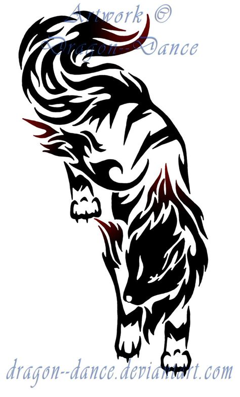 arcanine tattoo tribal prowling arcanine commission by dansudragon on