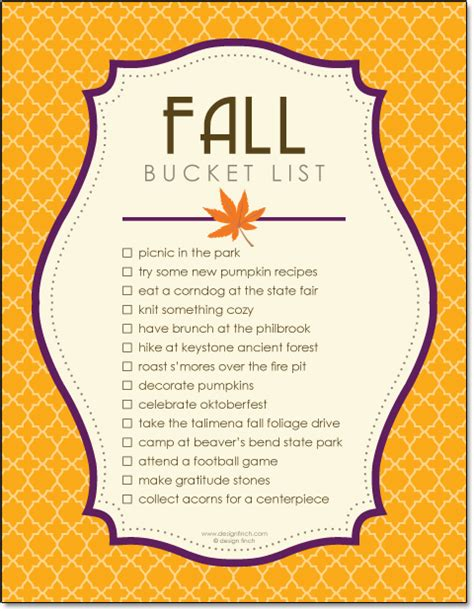 fall bucket list design finch