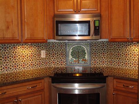 painted tiles for kitchen backsplash painted tile backsplash mediterranean kitchen