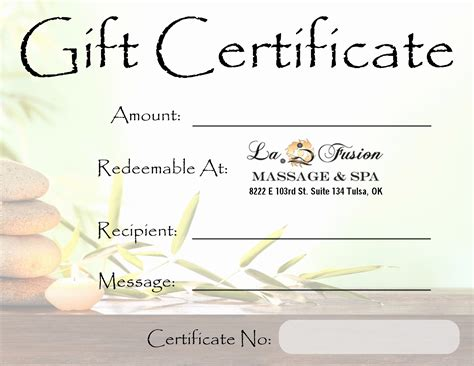 Spa Gift Card Voucher Template by Gift Certificate Template Free Printable
