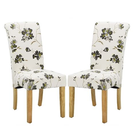 Freda Dining Chair In Floral Fabric With Oak Legs In A Pair Floral Fabric Dining Chairs