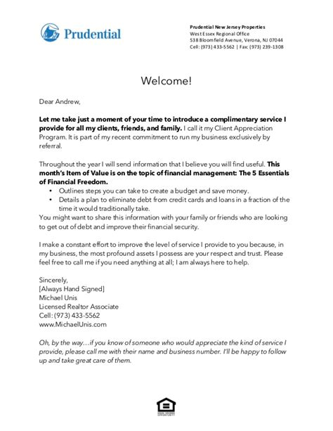 Financial Advisor Welcome Letter To New Client Introduction Letter Client Appreciation Program