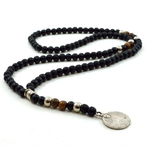 metal bead necklace mens black wooden beaded rosary necklace with silver metal