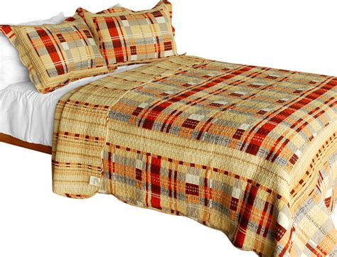 Plaid Patchwork Quilts - enthusiasm waltz 3pc vermicelli quilted plaid patchwork